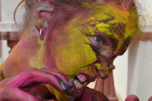 holi face close up colors